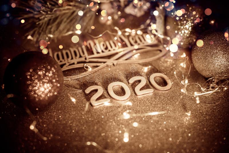 Happy new year 2020. On gold shiny background royalty free stock images
