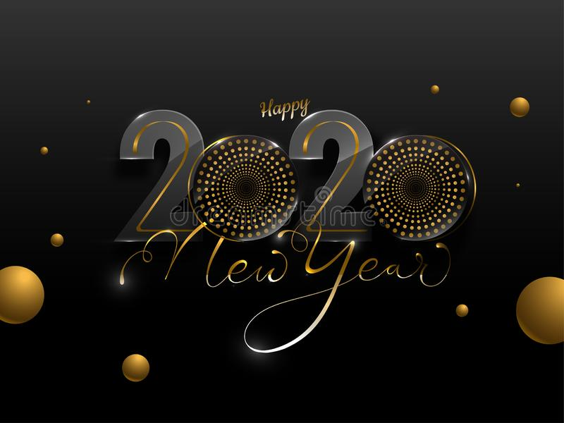 Happy New Year 2020 Text with Woofer`s and Golden Circles Decorated. On Black Background vector illustration