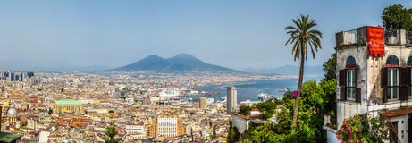 Aerial view of Napoli with Mount Vesuvius at sunset, Campania, Italy Royalty Free Stock Images